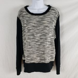 Lou & Gray Marled Knit Front Sweatshirt Crew Neck
